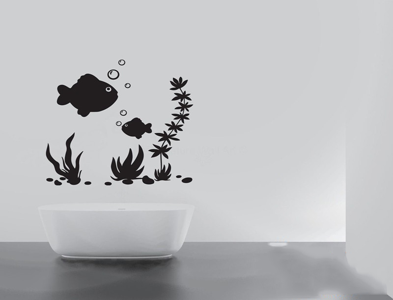 Fish sea plants bubbles quote wall stickers home decor for In home decor products