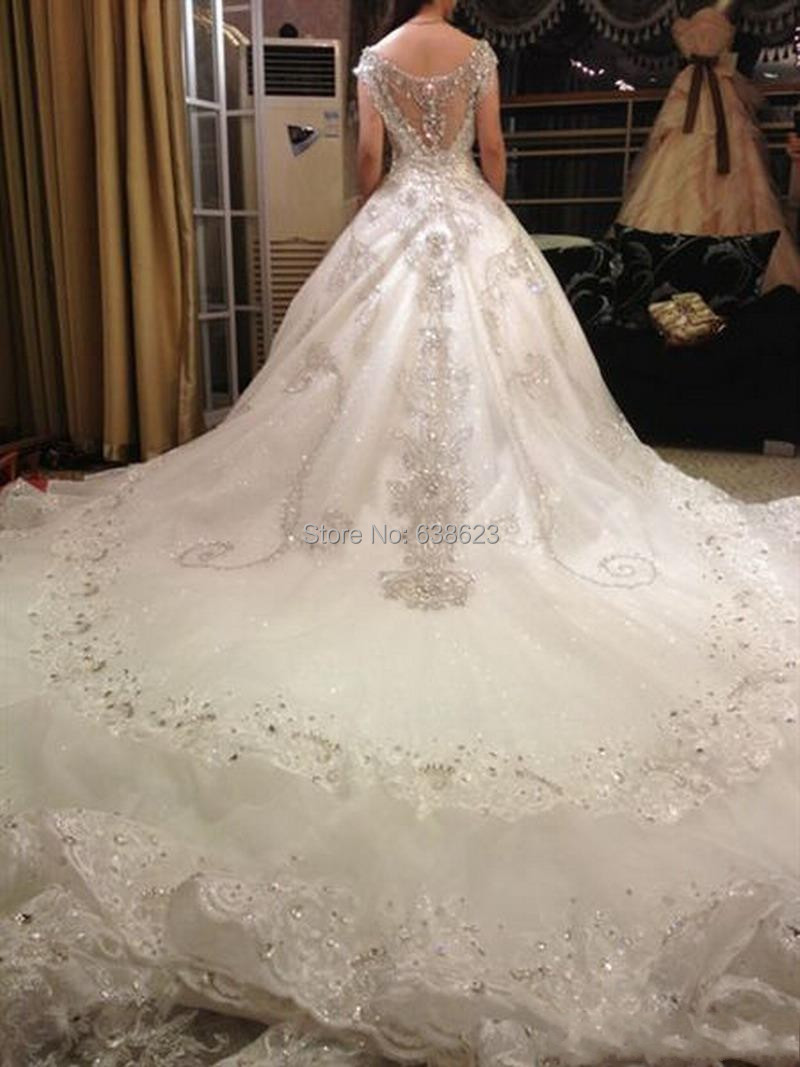 Daw1444 free shipping luxury v neck ball gown long train for Luxury ball gown wedding dresses
