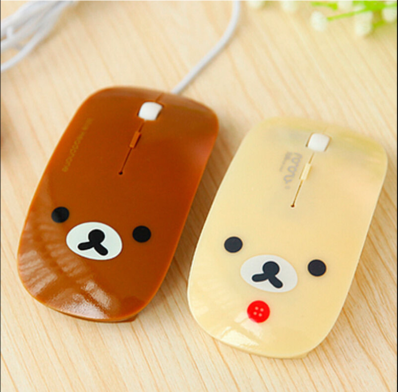 Cartoon Cute Bear Optical USB Wired Gaming Mouse Mice for Mac PC Laptop Notebook Computer(China (Mainland))