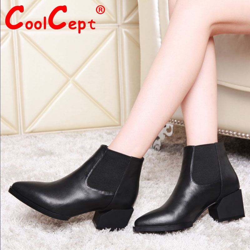 women real genuine leather high heel ankle boots fashion half short boot warm autumn winter bota footwear shoes R7677 size 34-40<br><br>Aliexpress