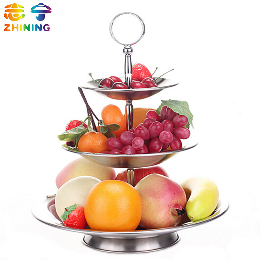 Stainless steel fruit dish 3 layers dessert candy plate dish party wedding supplies dish backet tableware free shipping Q-298(China (Mainland))
