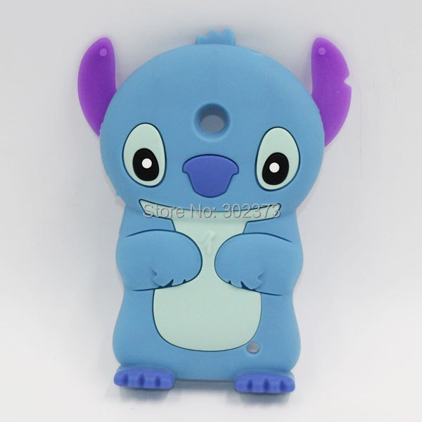 Silicone Stitch Case For Nokia Lumia 630 3D Lilo & Stitch Silicon Back Case Cover For Nokia Lumia 630 Life Funny Cell Phone Case(China (Mainland))