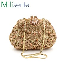 Milisente 2016 New Day Clutches For Lady Wedding Party Women Evening Clutch Purse Gold Handbag LX007
