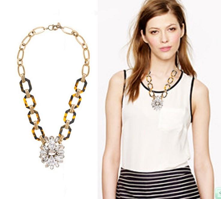 Free Shopping Luxurious Fashion amber leopard print Crystal pendant necklace female Metal Vintage J C Rhinestone Necklace(China (Mainland))