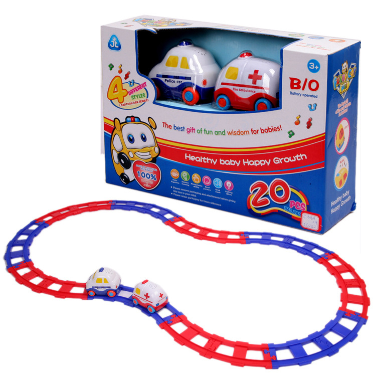 Mini Electronic cartoon Musical Railcar Toys the ambulance police with Flashing Track sets for children kids gifts(China (Mainland))