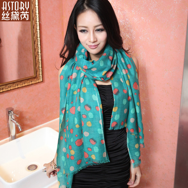 Astory wire pure wool ultra Women print long scarf cape