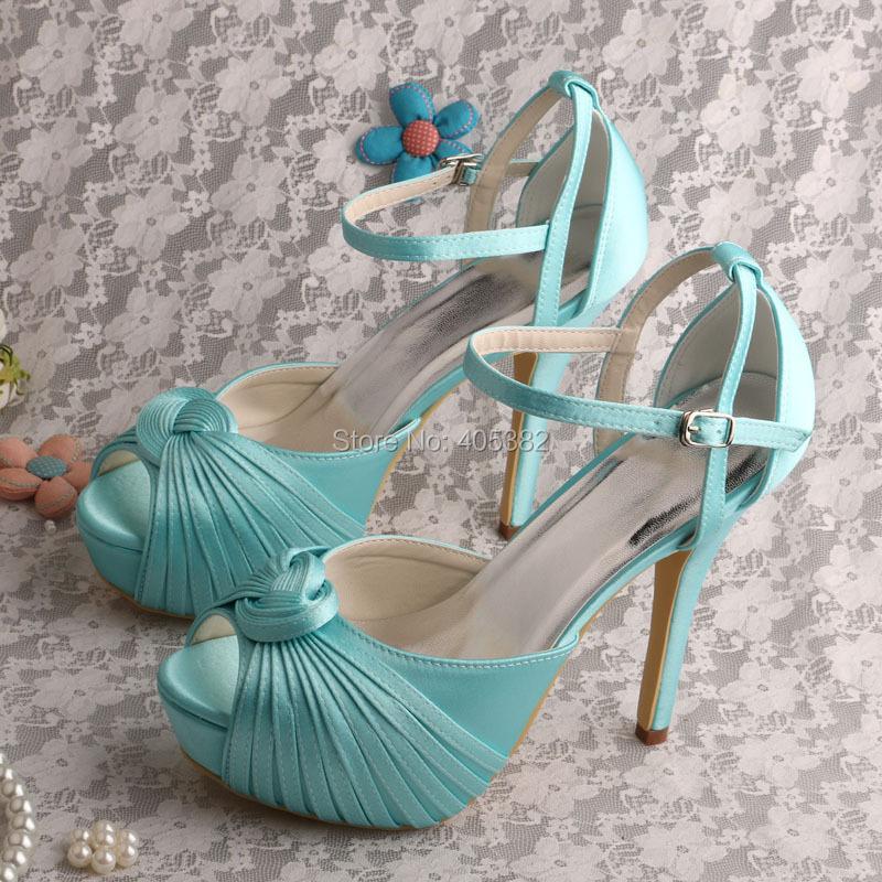 Wedopus Wedding Platform Women Heel Sandals Mint Green Satin Shoes Dropshipping(China (Mainland))