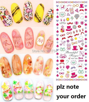 note your order's type WHOLESALE MIX 100 pcs different HOT designswater nail art water transfer sticker decal