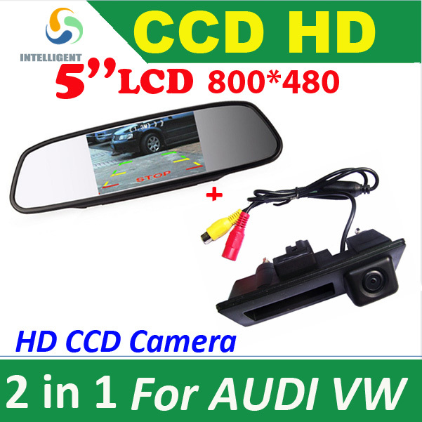 HD 5'' Car Monitor + CCD CAR rear view Camera VW Passat Tiguan Golf Jetta Sharan Touareg AUDI A4 A5 S5 Q5 PARKING - Intelligent Technology Co., Ltd. store
