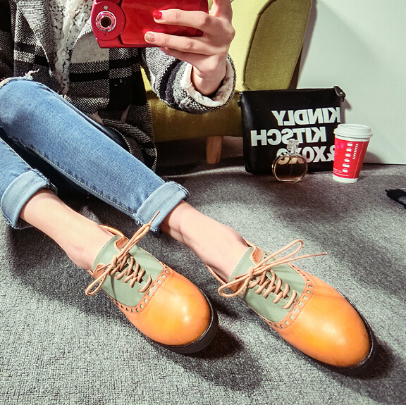 2015 new fashion women leather shoes flats oxfords round head cross strap mid heel sneakers handsome