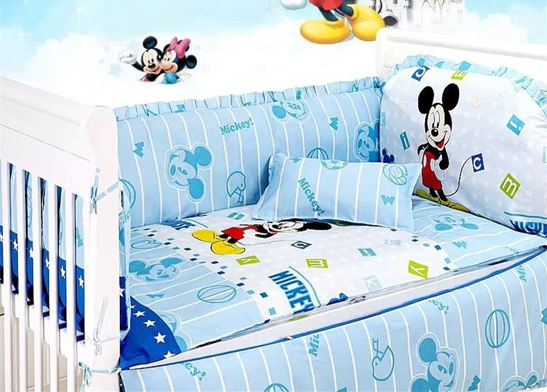 Promotion! 7PCS Mickey Mouse baby bedding set boy Comforter cot quilt sheet bumper (bumpers+matress+ pillow+duvet)<br><br>Aliexpress