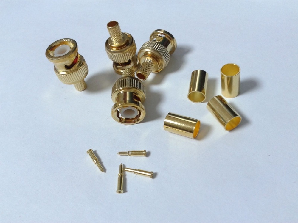 100 X Gold plated Crimp on BNC Male RG59 Coax Coaxial adapter For CCTV camera(China (Mainland))