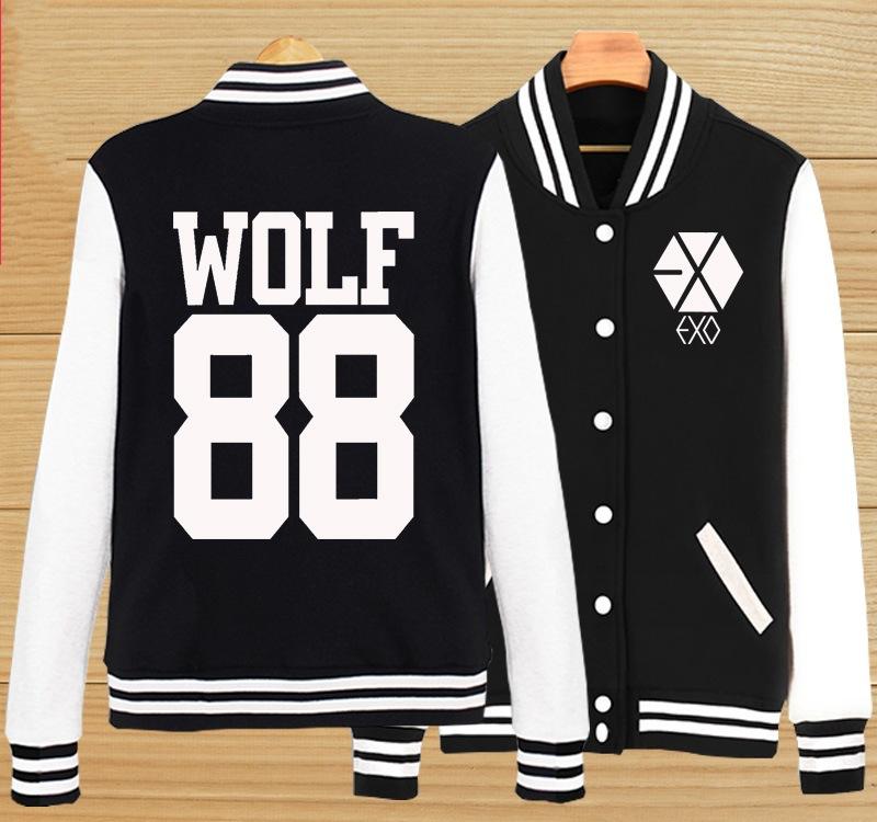 Kpop exo wolf jacket biology XOXO same wolf 88 male female baseball uniform cap who gives couples hoodie bulletproof youth club(China (Mainland))