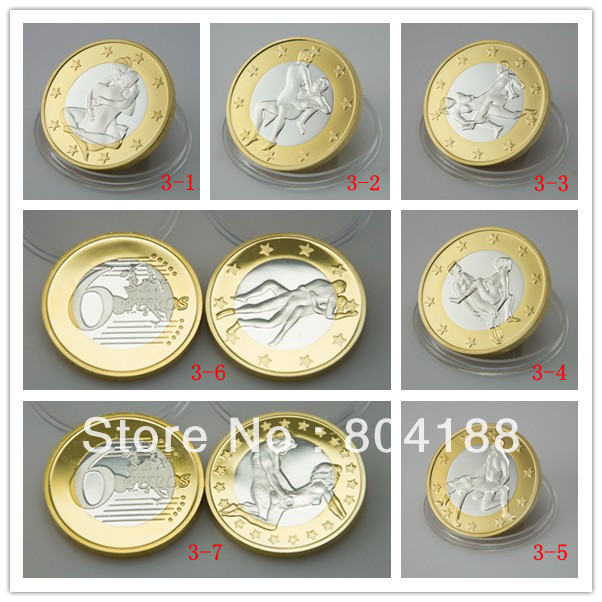 mix design 7 species Free shipping Make Love Sex Sexy lady and man 6 Euro Make Love small size Round Gift Metal coin(China (Mainland))