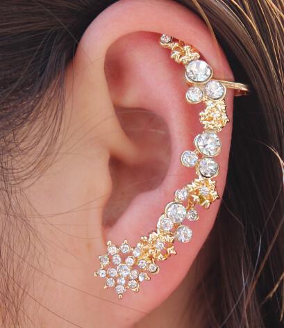 Crystal Earrings Shape Romantic Left Ear Cuffs Wrapped Ear Bones Clip Earrings For Women Gold brincos factory 20pcs/lot(China (Mainland))