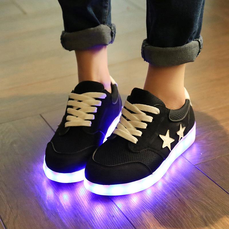 Led shoes for women led luminous 2016 new fashion Lacing casual Shoes men(China (Mainland))