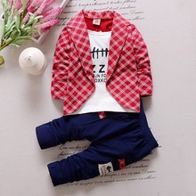 2016 New Spring Autumn Models Boy Suit Korean Version Of The Toddlers Infant Stripe Fake Two-piece Kids Clothing Set