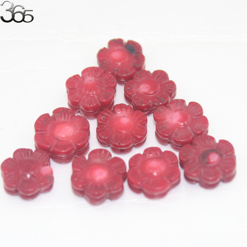 Free Shipping 10pcs 100% Real Natural 14mm Double Carved Flower Red Coral Gems Jewelry Making Beads Spacer 10 Pcs(China (Mainland))