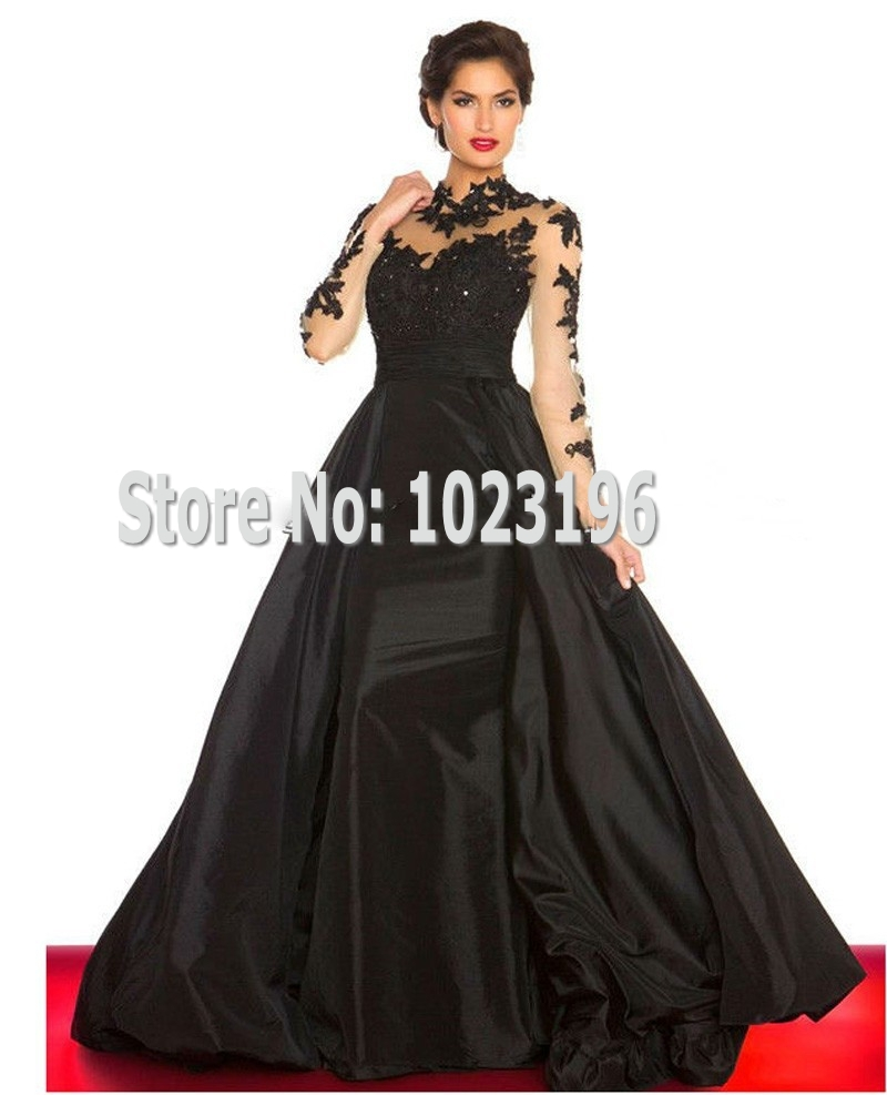 2015 New Elegant Applique Lace Beadings Red Black Prom Dresses High Neck Long Sleeves Taffeta Ball Gown Evening Gowns(China (Mainland))