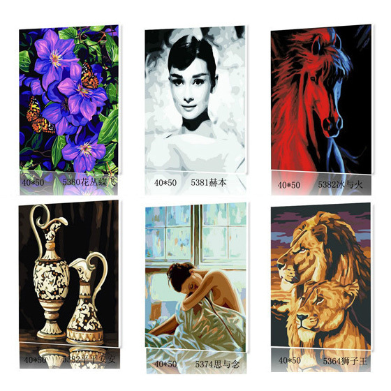 DIY digital oil painting with frame painting by numbers pictures for drawing modern art painting large canvas art cheap 40x50cm(China (Mainland))