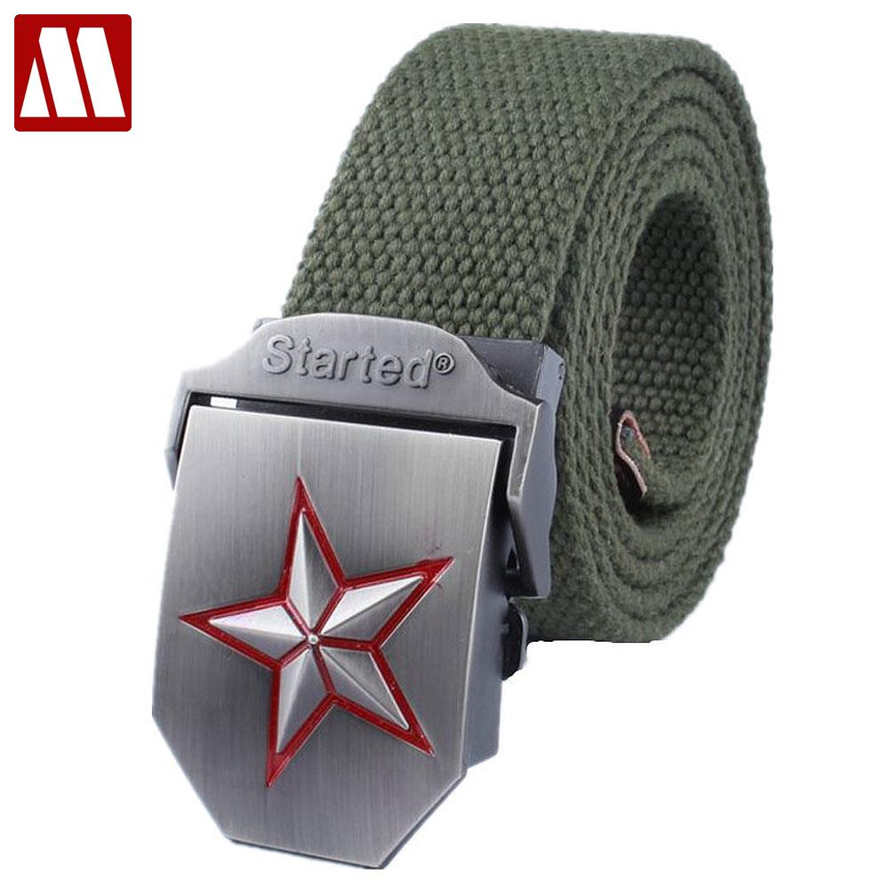 Red star automatic buckle belts fashion outdoor men's canvas belts male casual strap waist of trousers luxury belt 110 140CM(China (Mainland))