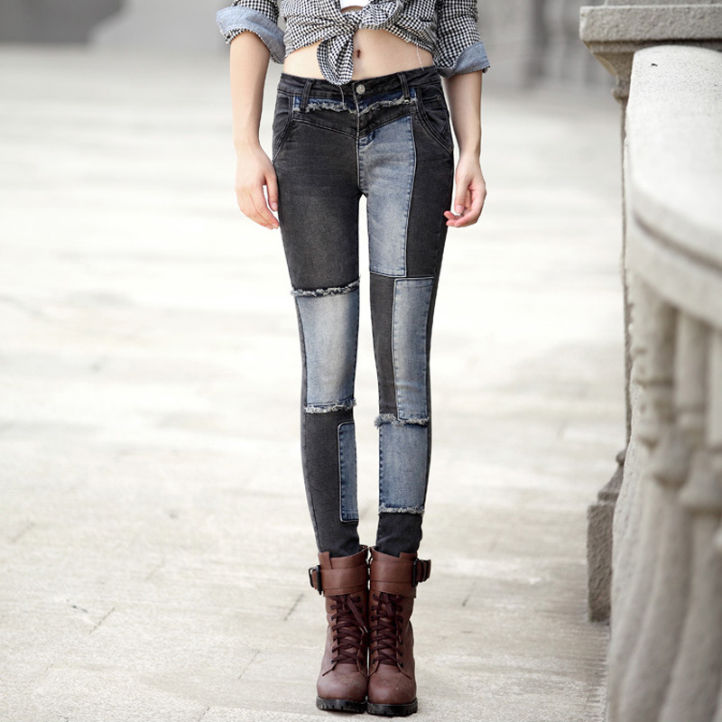 Women's patch spliced skinny jeans Fashion ripped stretch denim pencil pants Long trousers