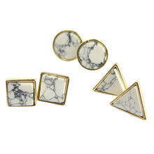 New Design Fashion Brand Square Triangle Round Geometric White Turquoise Stud Earrings For Women Charm Jewelry Factory Wholesale(China (Mainland))