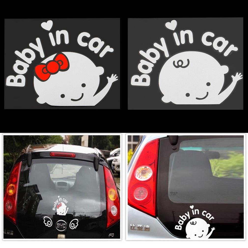 Free shipping Cool Baby in car Car Sticker Waterproof Reflective Car Decal On Rear Windshield car