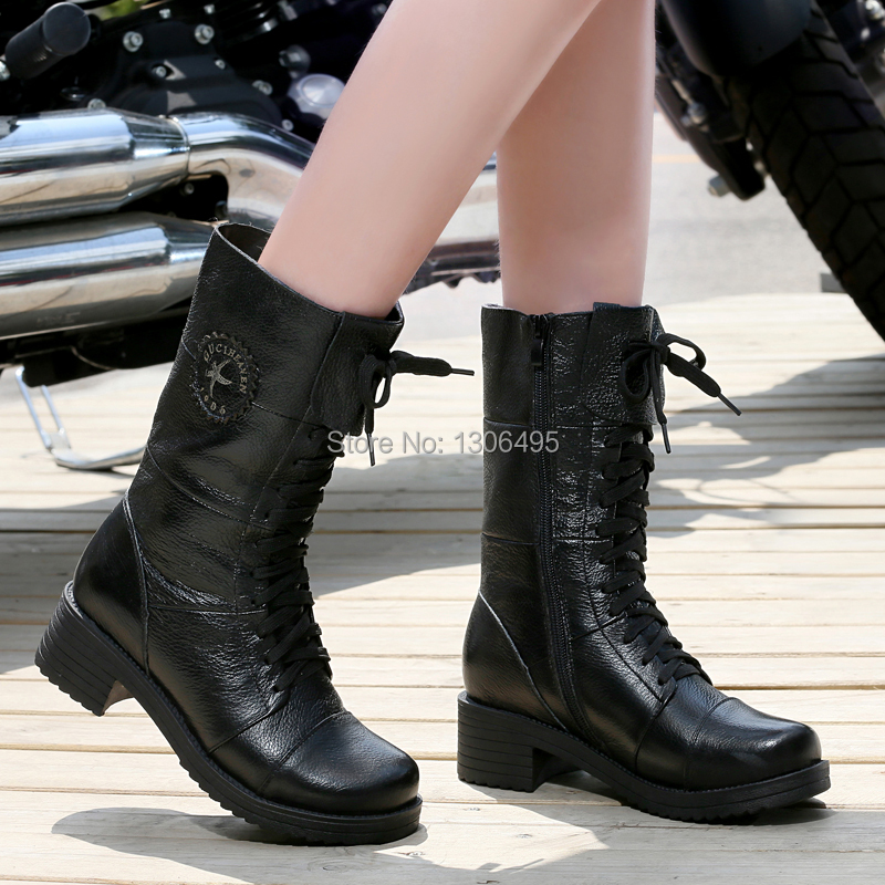 Autumn/Winter Woman Genuine Leather Boots Cotton-padded Boots Causal Women Motorcycle Boots Fashion Female Shoes(China (Mainland))