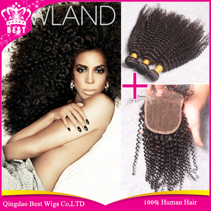 Unprocessed Virgin Human Hair Brazilian Curly with Closure 4pcs/lot Afro Kinky Curly 3pcs Hair Bundles with 1Pc Lace Closure<br>