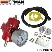 Epman Universal JDM FPR réglable régulateur de pression de carburant 0 – 140 PSI Gauge Kit de tuyau de gaz ( couleur par défaut rouge ) ep – fpr003