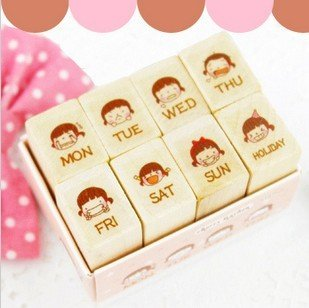 Freeshipping!Wholesale,New Creative Cute Lovely Girl Wooden Schedule Stamp Set/DIY Stamp/funny Work/Weekly Diary Stamp/8pcs/set