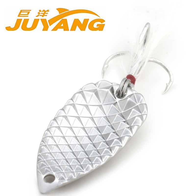 Free shipping JUYANG fishing lure spoon 5g 10g 15g 20g silver gold metal lure spinner bait fly fishing(China (Mainland))
