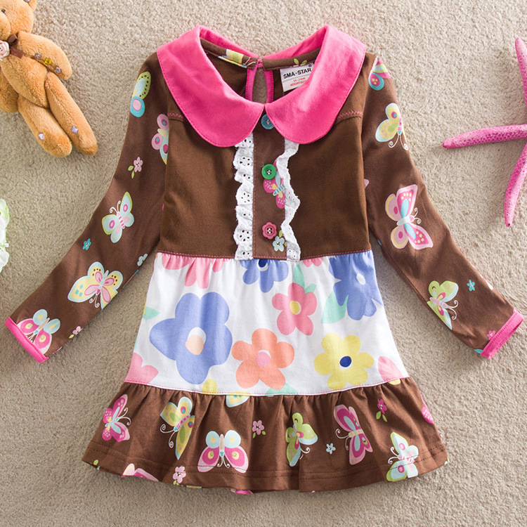 Hot Sale 2015 New STAR brand baby girl dress vestidos infantil fashion casual autumn winter baby girl clothes Cotton girl dress(China (Mainland))