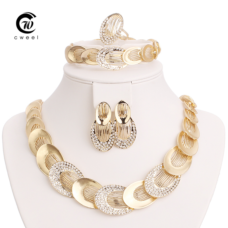 jewelry sets for women gold plated wedding party bridal accessories