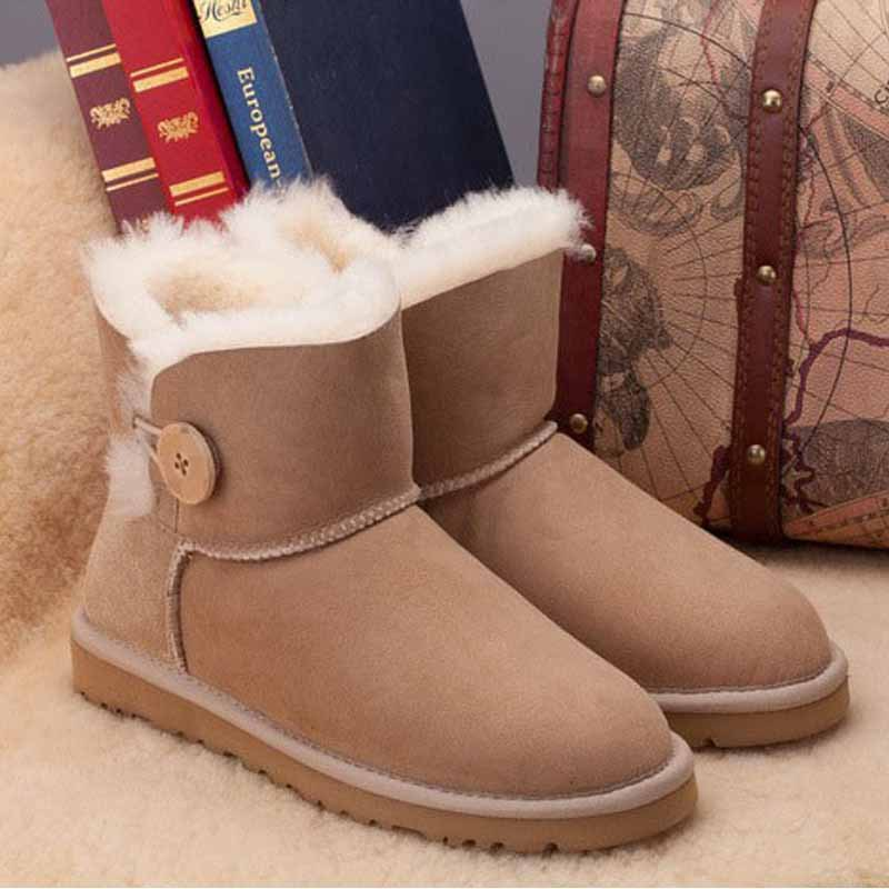 2015 Intl Brand Genuine sheepskin 100% Wool Snow Boots for Women,mini button ankle boots winter Shoes,Free Shipping!<br><br>Aliexpress