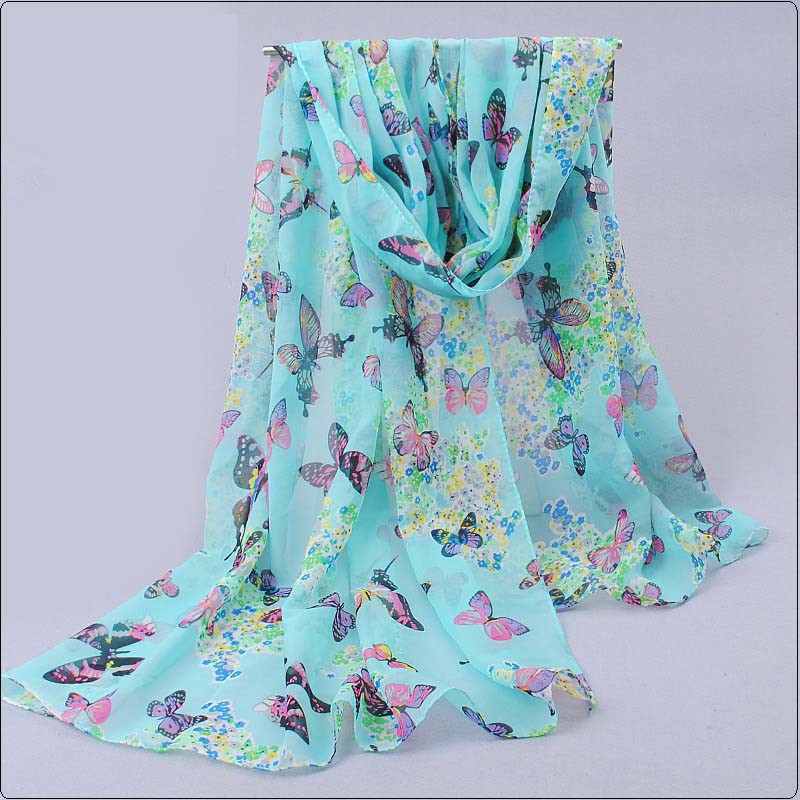new fashion style butterfly Scarves women's scarf velvet long shawl tippet print spring silk pashmina chiffon infinity scarf(China (Mainland))