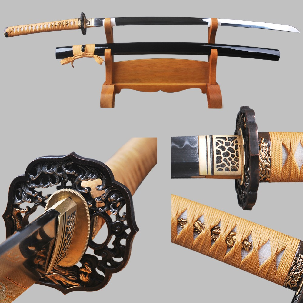 High-grade Katana 1095 Carbon Steel Clay Tempered Blade Sharp Full Tang Handmade Japanese Samurai Sword of Vintage Home Decor
