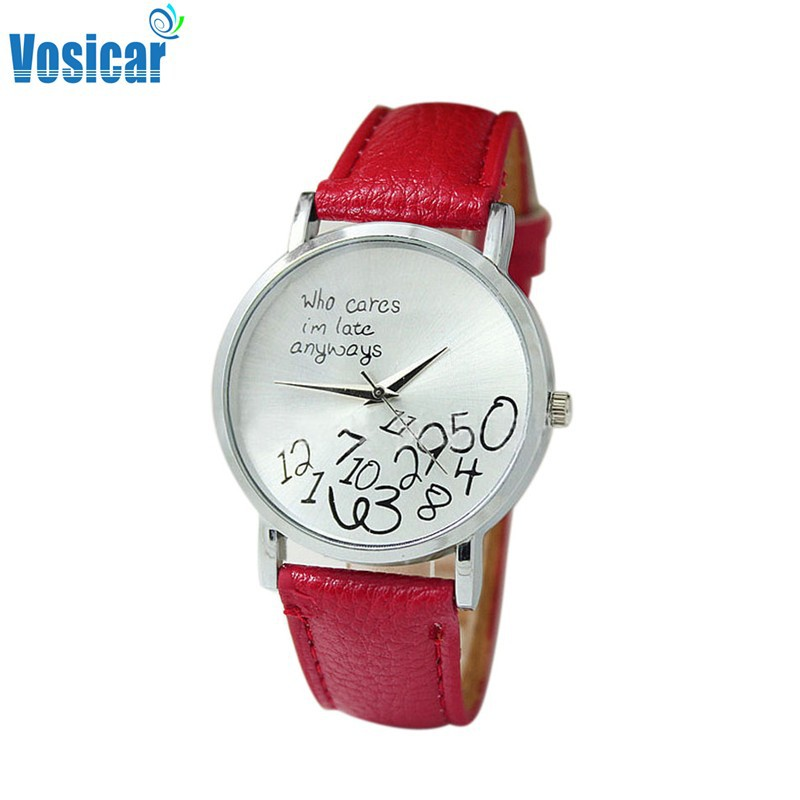 Vosicar 2015 Hot New Women PU Leather Watch Who Cares I am Late Anyway Alloy Watches Wrist Watch (China (Mainland))
