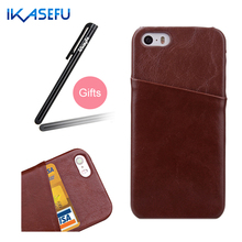 IKASEFU New Business Style Colored Mobile Phone Case for iPhone 5 5S 5C 5SE Cover with Card Bag with a Stand add Stylus Pen Gift