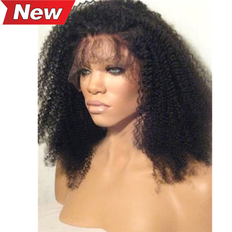 Brazilian Virgin Human Hair Kinky Curly Lace Front Wigs 130 Density Afro Kinky Curly Glueless Full Lace Wigs For Black Women(China (Mainland))