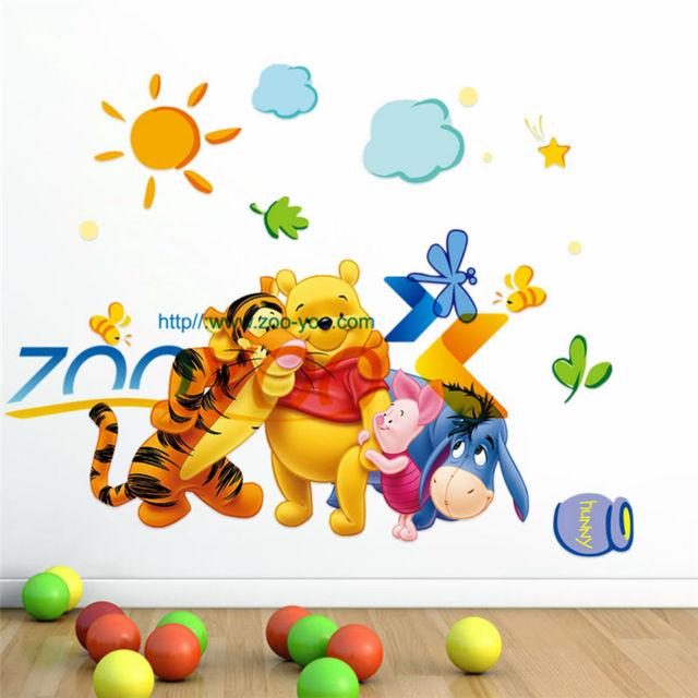 Мультфильм медведь и тигра съемные стикеры стены для детей номеров настенных наклеек мода украшения наклейки ZYPA-2006