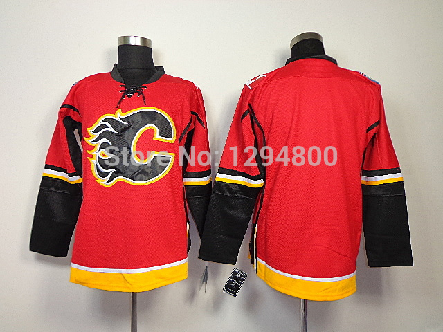 Free Shipping!Wholesale Cheap Calgary Flames Hockey Jerseys Blank Team Color Home Red Stitched Jerseys Embroidery Name Number Fr(China (Mainland))