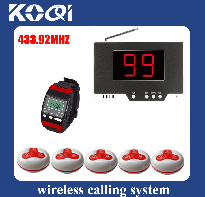Paging systems restaurant 99P-650-A3 waiter caller w 1 display +1 wrist watch +5 table for call to center DHL free shipping free(China (Mainland))