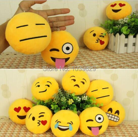 Hot Selling Unique Design 8 Style Cute Phone Emoji Emoticon Key Ring Yellow Cushion Stuffed Plush Soft Toy Doll Key Chains(China (Mainland))