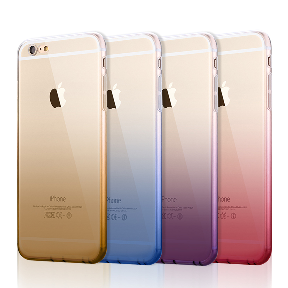 2016 Fashion Gradient Color Phone Cases Soft Clear Transparent TPU Silicone Cover Case For iPhone 6s 6 Plus Cover With Dust Plug(China (Mainland))