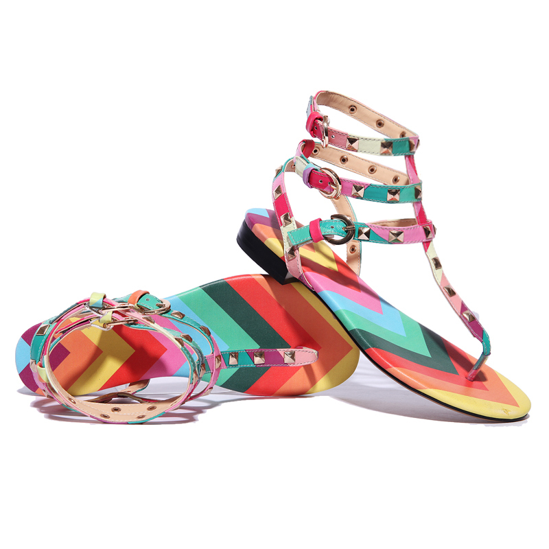 Sweet Woman Sandals Rivets Rainbow Color Genuine Leather Casual Flat Flip-Flops Buckle Shoes Size(35-40) - Ameshoes store
