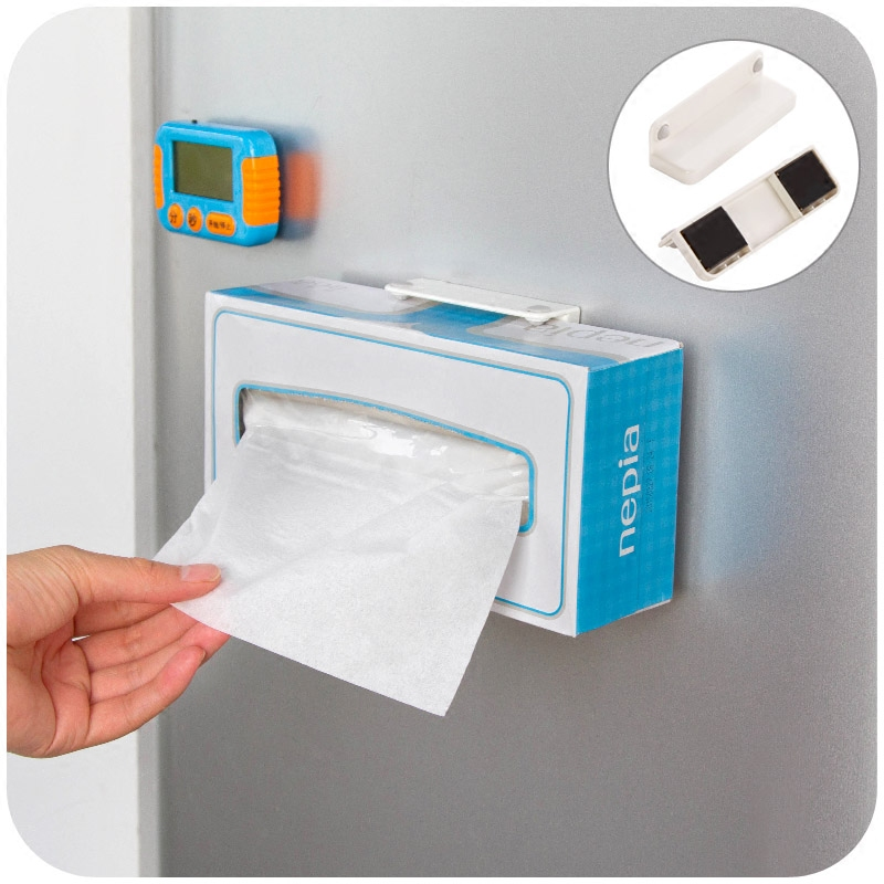 Vanzlife refrigerator magnet magnet paper towel tissue box with adjustable bracket creative kitchen Towel rack storage cage(China (Mainland))