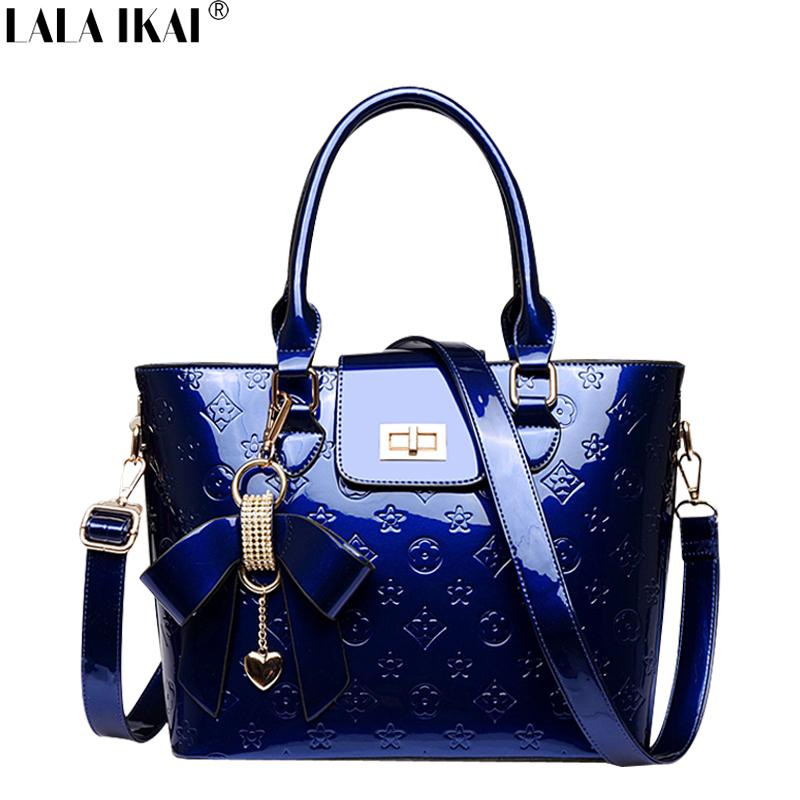 2015 Brand Women Bag Retro Patent Leather European Ladies Shoulder Bag with Bow Embossed Women Handbag Desigual Tote Bag BWC0374(China (Mainland))