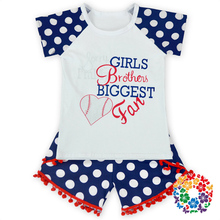 Casual Kids Clothes, Letter printing T-shirt with Bobbles Shorts Set, Children home outfit for Girls, Patchwork Summer Clothing(China (Mainland))